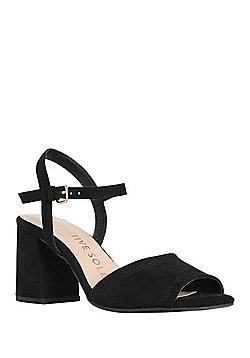 F&F Sensitive Sole Square Open Toe Sandals - Black