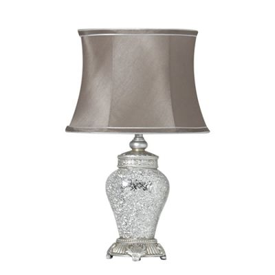 Mosaic Small Silver Sparkle Ant Silver Regency Lamp with Silver Trim Taupe Shade