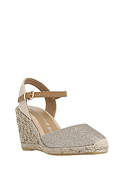 F&F Sensitive Sole Espadrille Wedge Sandals - Gold