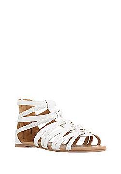 F&F Plaited Gladiator Sandals - White