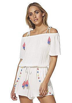 F&F Pom Pom Bardot Beach Playsuit - White