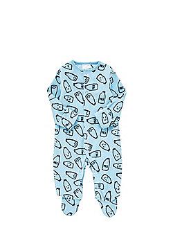 F&F Milk Bottle Print Fleece All in One - Light blue