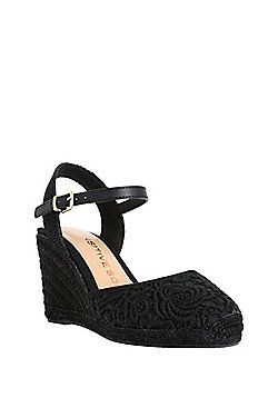 F&F Sensitive Sole Lace Wedge Espadrilles - Black