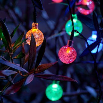 Set of 20 Crystal Ball LED Solar String Lights - Multi Colour