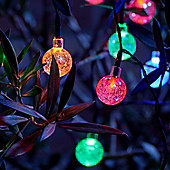 Set of 20 Crystal Ball LED Solar String Lights - Multi Colour