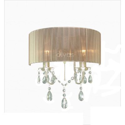 Wall Lamp Switched With Soft Bronze Shade 2 Light Crystal