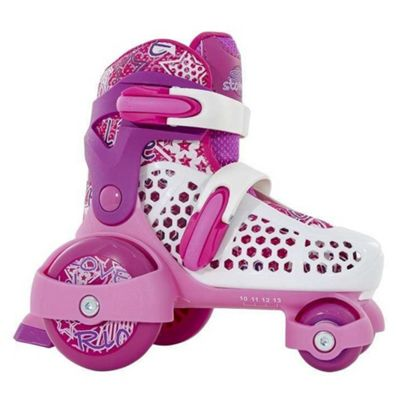 SFR Stomper Quad Skates Pink, Purple and White Size UK 10J - 13J