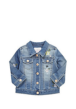 F&F Embroidered Denim Jacket - Blue