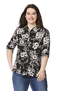 Lovedrobe Floral Print Plus Size Shirt - Multi