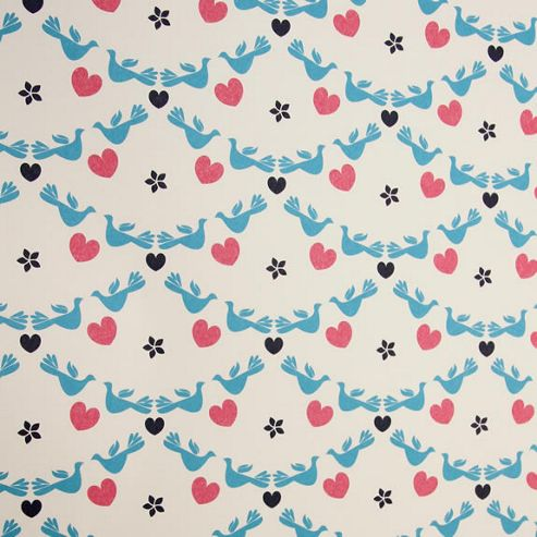 Rosehip Gift Wrap - Blue Birds/Pink Hearts