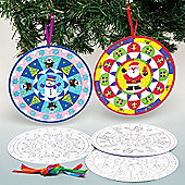 Christmas Mandala Colour-in Hanging Decoration Kit for Children to Personalise - Make Your Own Creative Xmas Craft Toy Set for Kids (Pack of 10)
