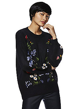 F&F Floral Embroidered Blouson Sleeve Jumper - Navy