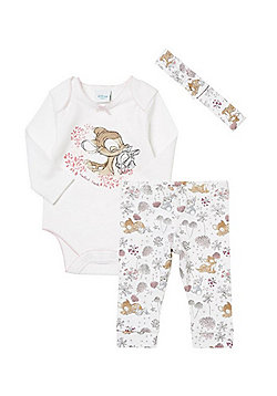 Disney Baby Bambi 3 Piece Bodysuit, Leggings and Headband Set - White