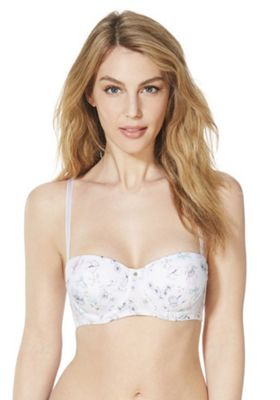 F&F Signature Laurie Botanical Print Balcony Bra White Multi 38 D cup