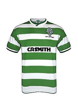 Celtic FC Mens 1985 Cup Final Retro Shirt Large - Green