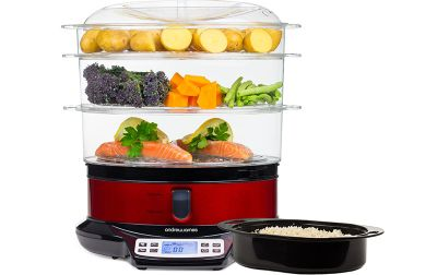 Andrew James Electric Food Steamer - 3 Tier Digital Machine with 9L Capacity - 800W