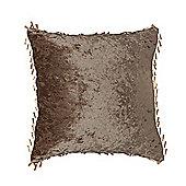 """Chocolate Crushed Velvet Cushion 24"""""""