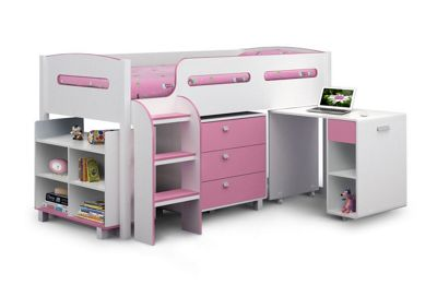 Happy Beds Kimbo Wood Kids Storage Midsleeper Cabin Desk Storage Bed with Open Coil Spring Mattress - Pink and White - 3ft Single