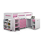 Happy Beds Kimbo Pink and White Wooden Kids Mid Sleeper Sleep Station Desk Cabin Storage Bed Spring Mattress 3ft Single