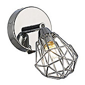 Modern Adjustable Chrome Wall Spotlight with Switch Button and Caged Shade