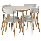 Charlie Table and Four Chair Set (Circle) - Grey