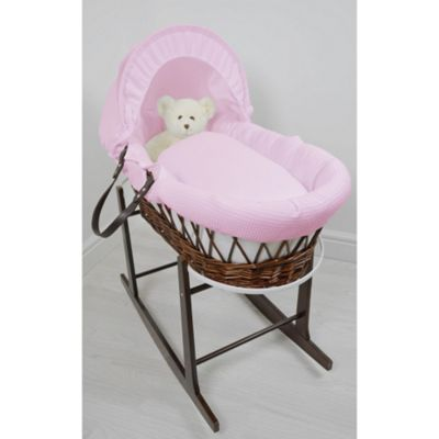Cuddles Collection Dark Wicker Moses Basket (Waffle Pink)