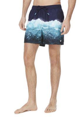 F&F Splash Print Quick Dry Swim Shorts Blue XL