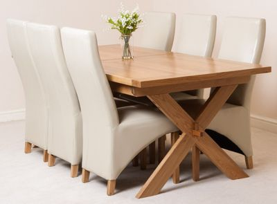 Vermont Solid Oak Extending 200 - 240 cm Dining Table with 6 Ivory Lola Leather Chairs