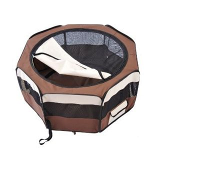 PawHut Puppy Playpen Play Pen Run L37 x H37cm x D95cm Brown and Cream