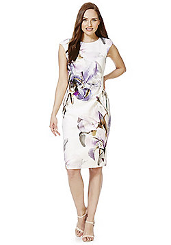 Roman Originals Floral Print Scuba Dress - Ivory