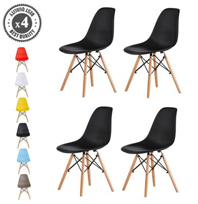 Set of 4 Modern Design Chair Eames Style (Black) Lia