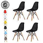 Set of 4 Modern Design Chair Eames Style (Black)