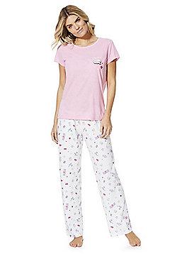 F&F Sweet Dreams Slogan Pyjamas - Pink & White