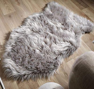 buy faux fur sheepskin rug light grey 60 x 90 cm from our rugs range tesco. Black Bedroom Furniture Sets. Home Design Ideas