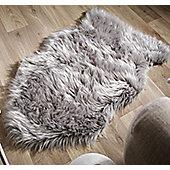 Faux Fur Sheepskin Rug, Light Grey - 60 x 90 cm