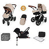 Ickle Bubba Stomp V3 AIO Isofix Travel System/Mosquito Net Sand (Silver Chassis)