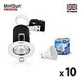 Pack of 10 MiniSun Fire Rated 5W LED GU10 Downlights, White