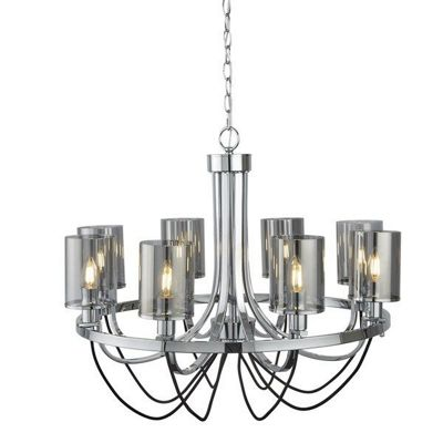 CATALINA 8 LIGHT CEILING, CHROME, BLACK BRAIDED CABLE, SMOKED GLASS SHADES