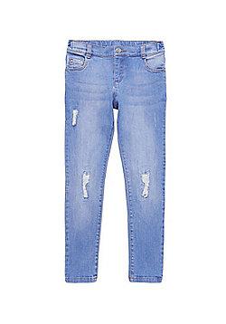 F&F Ripped Knee Slim Fit Jeans - Blue
