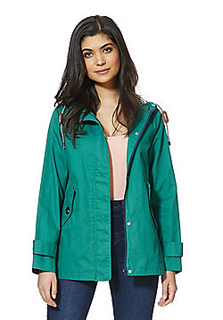 F&F Peached Cotton Shower Resistant Hooded Mac - Green