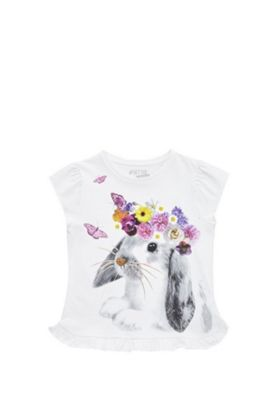 F&F Rabbit with Floral Garland T-Shirt White 5-6 years