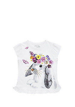 F&F Rabbit with Floral Garland T-Shirt - White