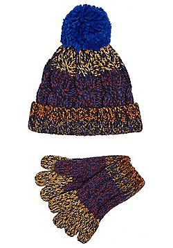 F&F Colour Block Bobble Hat and Gloves Set - Blue