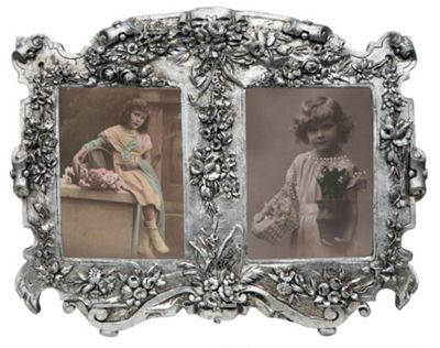 Art Nouveau Double Silver Gilt Leaf Photo Frame