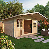 4m x 4m (13ft x 13ft)Sutton Home Office Apex Log Cabin (Single Glazing) 44mm Garden Cabin - Fast Delivery - Pick A Day