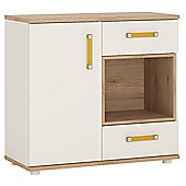 4KIDS 1 door 2 drawer cabinet with open shelf in light oak and white high gloss with orange handles