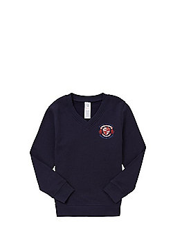 Unisex Embroidered Cotton Blend School V-Neck Sweatshirt with As New Technology - Navy blue