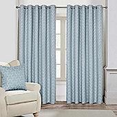 "Blue Geometric Jacquard Blackout Eyelet Curtain Pair, 90 x 90"""