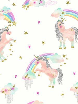 Rainbow Unicorn Glitter Wallpaper White Arthouse 696109