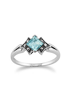 Gemondo 925 Sterling Silver Art Deco Topaz & Marcasite Ring
